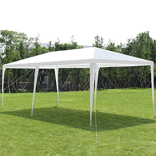 COSTWAY 3X6M Outdoor Garden Gazebo Party Tent, Waterproof & Anti-UV Heavy Duty Marquee Wedding Shelter Canopy, Powder Coated Steel Frame with PP Joints, Easy to Install (White)