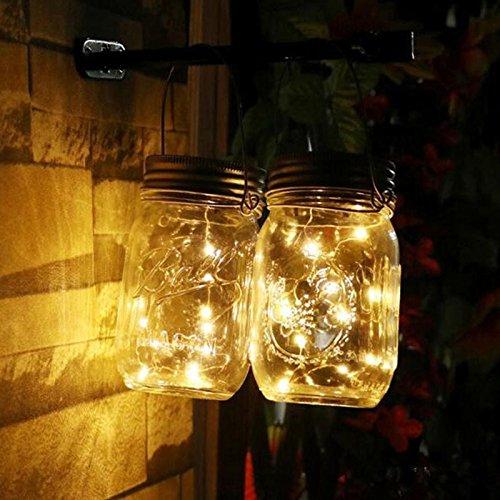 ALLOMN Luci del Barattolo Solare, Luce Solare del Giardino IP67 Impermeabile Giardino Luce a Sospensione Patio Yard Luce Fata Auto On e Off, 20 LED (Bianco Caldo)