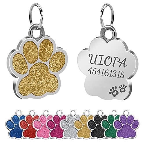 Uiopa 2pzs Chapa Perro Grabada, Huella para Mascotas Placa Perro Grabada, Etiquetas de Identificación de Mascotas Chapas Personalizadas Placa Chapas para Perros, Gatos, Mascota Collar (Dorado)
