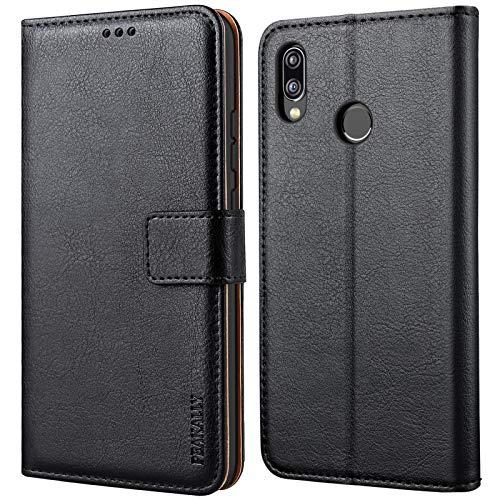Peakally Cover per Huawei P20 Lite, Flip Caso in PU Pelle Premium Portafoglio Custodia per Huawei P20 Lite, [Kickstand] [Slot per Schede] [Chiusura Magnetica]-Nero