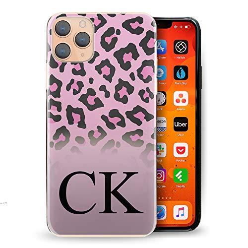 Personalisiert Initialen Handy Hülle Für HTC One X10 (2017), Schwarz Monogramm, Initialen Auf Pink Leopardendruck Harte Handy Cover