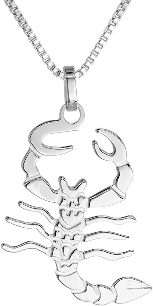 Sterling Silver Scorpion Pendant Necklace favorite 1 w 4 Sold high Selling inch