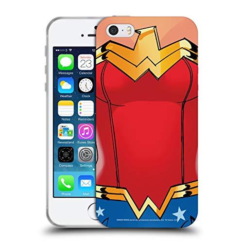 Head Case Designs Licenza Ufficiale Wonder Woman DC Comics Costume Logo Cover in Morbido Gel Compatibile con Apple iPhone 5 / iPhone 5s / iPhone SE 2016