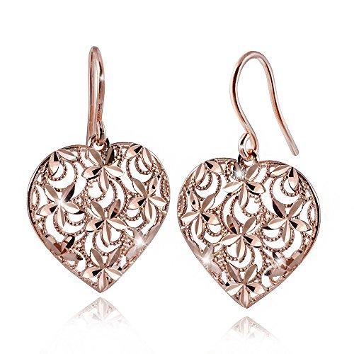 MATERIA Damen Ohrringe Rosegold Herzen Silber 925 DORA - Gold Ohrhänger groß diamantiert mit Box #SO-259