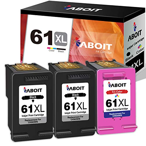 ABOIT Remanufactured Ink Cartridge Replacement for HP 61XL 61 XL Ink to use with HP Envy 4500 Deskjet 1000 1056 1510 1512 1010 1055 OfficeJet 4630 Printer (2 Black, 1 Tri-Color,3 Pack)