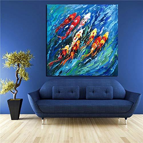 Arte de pared de gran tamaño Cuadro abstracto Pintura tradicional china Coloridos Peces Koi Impresiones en lienzo para la decoración de la sala de estar (50x50cm) Sin marco
