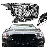 マツダ 3 アクセラ 車用 高級感アップ フロントグリル ラジエーター フード アッパー グリル 専用設計 ABS 交換 エアロ ドレスアップ ガーニッシュ カスタム パーツ Mazda 3 Axela 2014-2016