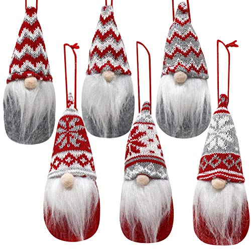 6 PCS Christmas Swedish Santa Tomte Plush Gnome Christmas Ornaments for Hanging and Tabletop Christmas Decorations