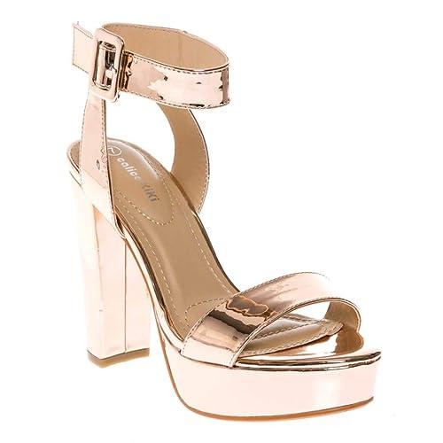 24c684f2aa CALICO KIKI Women's Shoes Buckle Ankle Strap Open Toe Chunky High Heel  Platform Dress Sandals