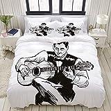 SmallNizi Juego de Funda nórdica, Hombre Tocando Guitarra acústica Tinta Negra, Colorido Juego de Cama Decorativo de 3 Piezas con 2 Fundas de Almohada