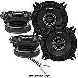 Alpine S-S40 Car Audio Type S Series 4' 180 Watt Speakers - 2 Pair with 20' Wire Package