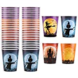 Aneco 48 Pieces 9 Ounces Halloween Paper Cups Drinking Cups Disposable Party Cups in 4 Designs for Halloween Party Supplies