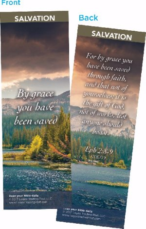 Christian Bookmark with Bible Verse, Pack of 25, By Grace You Have Been Saved, Ephesians 2:8-9