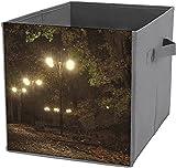 Große faltbare Aufbewahrungskörbe für Herbstnächte, würfelförmige Aufbewahrungskörbe für Zuhause, Regale oder Schrank, weiß