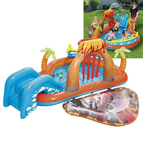 HUA JIE Kinder Planschbecken, Groß Hüpfburg Pool PVC Sprühfunktion Riesen Aufstellpool Mit Pumpe Rutsche Für Baby Drinnen Outdoor Garten Wasserpark Ca 265x265x104 cm