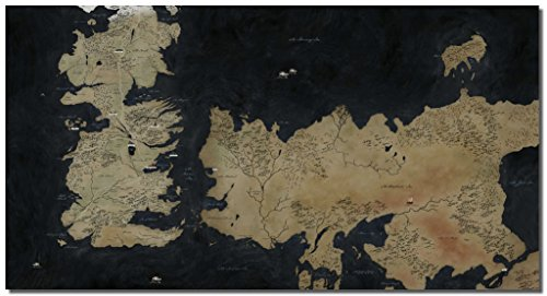 Picture Sensations® Framed Canvas Art Print, Game Of Thrones Map Gaming Art Prints Video Games Wall Canvas Art - 36'x20'
