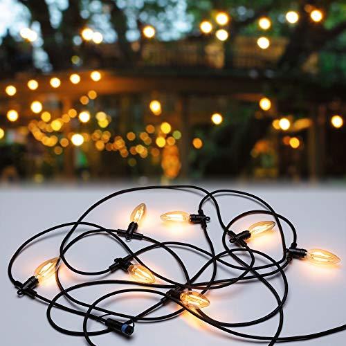 Paulmann 94324 Plug & Shine LED Außenleuchte Outdoor Classic Lichterkette 24V IP44 incl. 7x2 Watt Außenleuchten Anthrazit Aussenleuchten Gartenbeleuchtung 1700K, schwarz