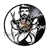 LINZEWANG Barber Shop O Horloge Murale Décorative Coiffeur Horloge Murale Conception 3D Montre Décoration Murale Barber Shop sans Lumières LED