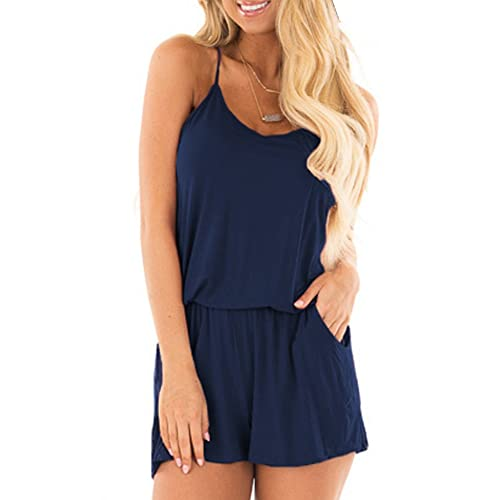 YIBU Apparel Women Summer Sleeveless Spaghetti Strap Rompers Casual Empire  Waist Short Jumpsuits Rompers with Pockets