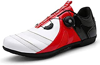 ZMYC Road Cycling Shoes Men Anti-skid Breathable MTB Cycling Shoes Flat Without Click System For Cycling Mountain Road Biking (Color : White red, Size : 43)