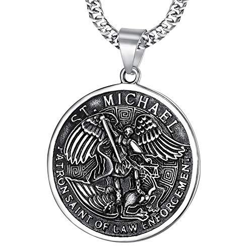 BOBIJOO JEWELRY - Anhänger Medaille-Saint-Michel Michael der Erzengel schirmherr Polizei, sicherheitskräfte, Stahl 316L Kette