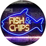 ADVPRO Fish & Chips Fast Food Open Display Dual Color LED Neon Sign Blue & Yellow 16' x 12'...
