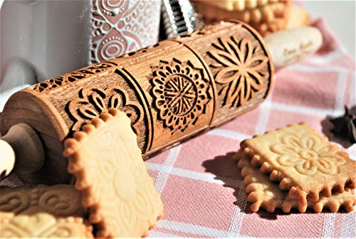 Embossed Rolling Pin Mandala Pattern, Engraved Wooden Rolling Pins for Cookies, Carved Molds for Pastry Dough, Embossed Dough Roller