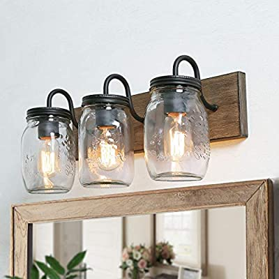 LNC Bathroom Vanity Fixtures Farmhouse Mason Jar Lights with Faux Wood Finish, L18 x H8 x W9.5, Brown