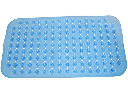 WARRAH Pebble disegno di gomma stuoia di bagno idromassaggio Mat Sanità piede di pulizia Tappetino per vasca o doccia -Natural gomma vasca da bagno non stuoia di slittamento aggiunta -Il migliore sicurezza per la vostra doccia o vasca da bagno con accogliente bolla Grip piede Colore trasparente Blu