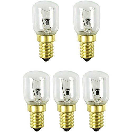 COM-FOUR® Lampe de four 5x jusqu'à 300 ° C, ampoule de cuisinière blanc chaud 25W, E14, 230V