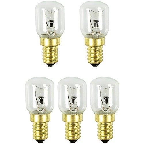 com-four® 5x Backofenlampe bis 300° C, warm-weiße Herd-Glühbirne 25W, E14, 230V (05 Stück - 25W goldfarben)
