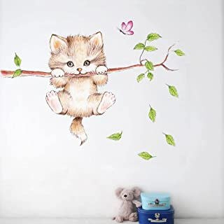 Lovely Cat Hanging Branches Butterfly Wall Stickers for Kids Room Children Bedroom Cute Animals Wall Decals Nursery Decor ...