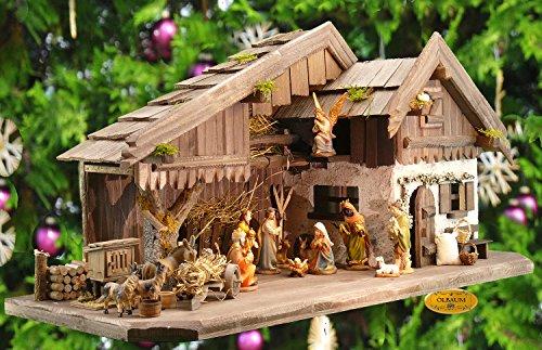 BTV Krippenstall WeihnachtsKrippe + Deko+ Zubehör, BRUNNEN + Holzdeko + Tierfiguren + Stall KA70-du-MF-SKR mit hochwertigen Premium Krippenfiguren/FARBIG HANDBEMALT,12er Set in Edler Echtholz-Optik,