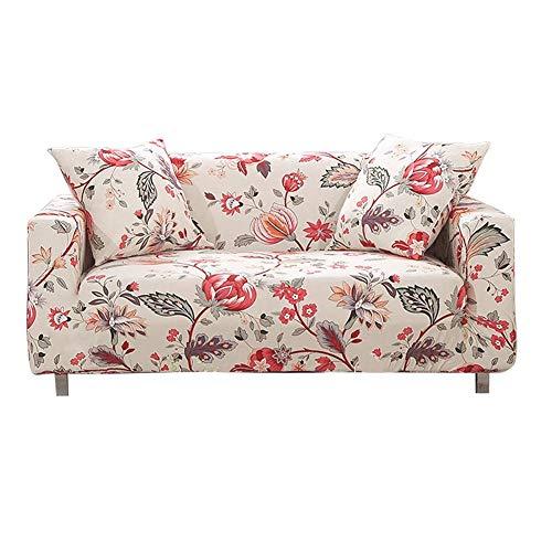 Funda de sofá elástica de 4 plazas - Fundas de sofá de Spandex de poliéster elástico Estampado - Protector de Muebles de Funda de sofá Ajustable Universal (Flor
