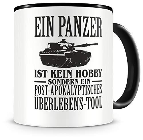 Samunshi® Panzer Tasse mit Spruch Geschenk für Mann Frau Oma oder Opa Kaffeetasse groß Lustige Tassen zum Geburtstag schwarz 300ml