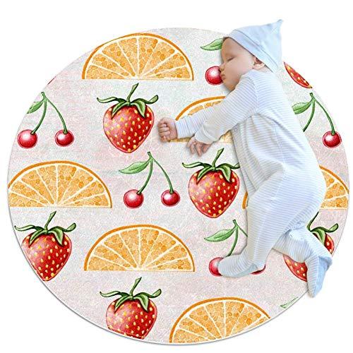 Hohohaha - Alfombrilla de algodón para gimnasio de suelo de limón y fresa, no tóxica, antideslizante y lavable, 27 x 27 pulgadas, Multi01, 70x70cm/27.6x27.6IN