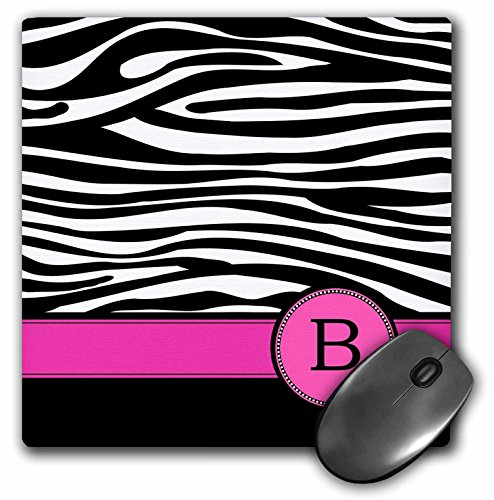 3dRose LLC 8 x 8 x 0.25 Inches Mouse Pad, Letter B Monogrammed Black and White Zebra Stripes Animal Print with Hot Pink Personalized Initial (mp_154273_1)