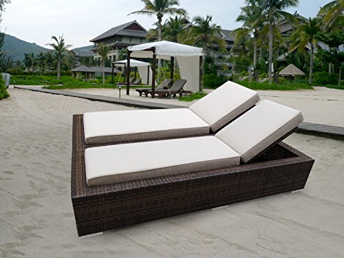 Hot Sale Genuine Ohana Outdoor Patio Wicker Furniture 2 Pc Set MIXED Brown Chaise Lounge