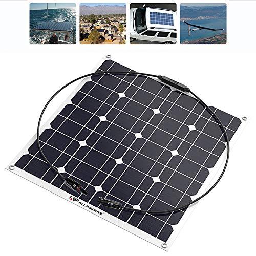 QWERDF Panel De 50W 12V Policristalino Solar, Batería Portátil Mantenedor De Energía Solar Cargador De Goteo, para Cargar La Batería, Barco, 50 Vatios, Caravana, Aplicaciones RV