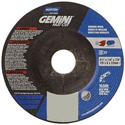 """Norton Gemini Fast Cut Depressed Center Abrasive Wheel, Type 27, Aluminum Oxide, 7/8"""" Arbor, 4-1/2"""" Diameter X 1/4"""" Thickness (Pack of 25)"""