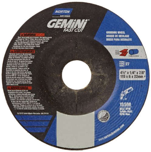 Norton Abrasives Grinding Wheel, Gemini Fast Cut Grinding Wheel, 4 1/2 for Right Angle Grinder, Pack of 25 Discs