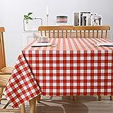 Yumhouse Damast Tischdecke eckig,wasserdichte, öl- und schmutzabweisende Gitter-PVC-Tischdecke-N_140 * 200 cm,Tischtuch wasserabweisend Tischwäsche