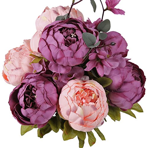 Luyue Vintage Artificial Peony Silk Flowers Bouquet, New Cameo Brown