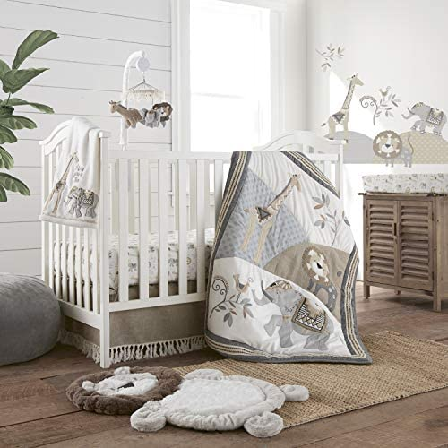 Levtex Baby Taza Crib Set Baby Nursery Set Charcoal Cream Tan Jungle Giraffe Lion Elephant 4 product image
