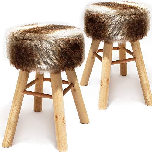 nxtbuy 2X Runder XXL Sitzhocker aus Holz mit Polsterung und Bezug aus Kunstfell - Barhocker 70 cm hoch Durchmesser 33 cm, Farbe:Creme-Braun