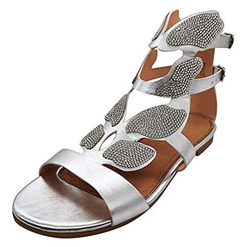 Guajave Sandalias de gladiador de diamantes de imitación zapatos planos en forma...