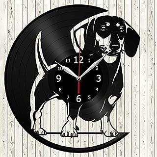 Dachshund Dog Vinyl Record Wall Clock Decor Handmade Unique Original Gift