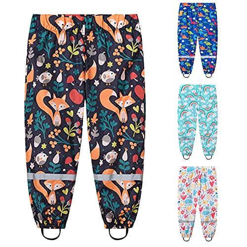 WTFK Rain Pants Kids Cute Cartoon Windbreak Waterproof Pants for Boys and Girls Toddler Rain Pants