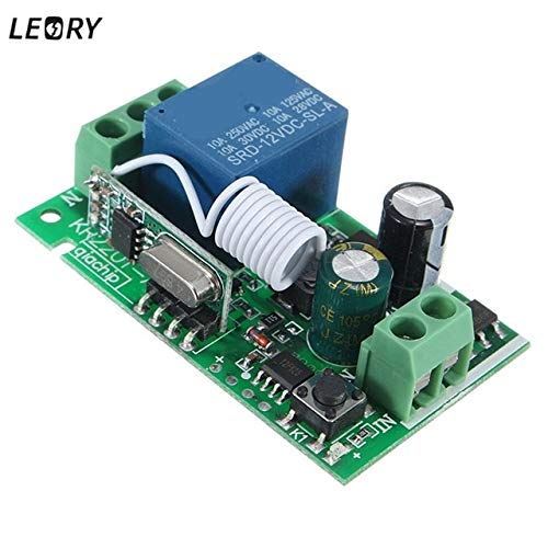 Calvas Smart Home DC 12V 220V 10A 1 Ch Wireless RF Remote Control Receiver Relay Switch 315/433 MHz Channel Heterodyne Best Price - (Color: 433MHZ)