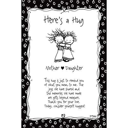 Here's A Hug-Mother/Daughter Wood Plaque - Children of The Inner Light by Marci | Elegant Vertical Frame Wall Art & Tabletop Decoration | Easel & Hanging Hook | Measures 6 inches x 9 inches